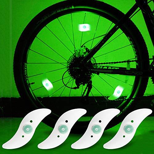 yifengshun Luci per Ruote a LED per Bici con 3 modalità Fash Ciclismo Cerchio Pneumatico Luce Verde Avviso Luci al Neon Accessori per Biciclette Lampada Flash Impermeabile 4psc