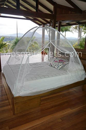 Pop up Freestanding Mosquito Net. Floorless to fit Over existing Bedding. Adjustable from King to Full Size beds. Secure Insect Protection.