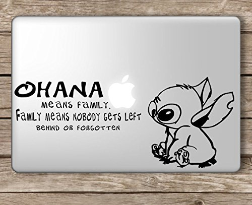 Stitch Ohana Means Family Disney - Apple MacBook Laptop Vinyl Sticker Decal, Die Cut Vinyl Decal for Windows, Cars, Trucks, Tool Boxes, laptops, MacBook - virtually Any Hard, Smooth Surface