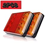 2pcs Luces Traseras Piloto Remolque LED Freno de Señal Impermeable Rojo Ambar Lámpara de Matrícula Placa Indicador Luces de Cola para Caravana Coche Camión Barco Tractor 12V (8LED)