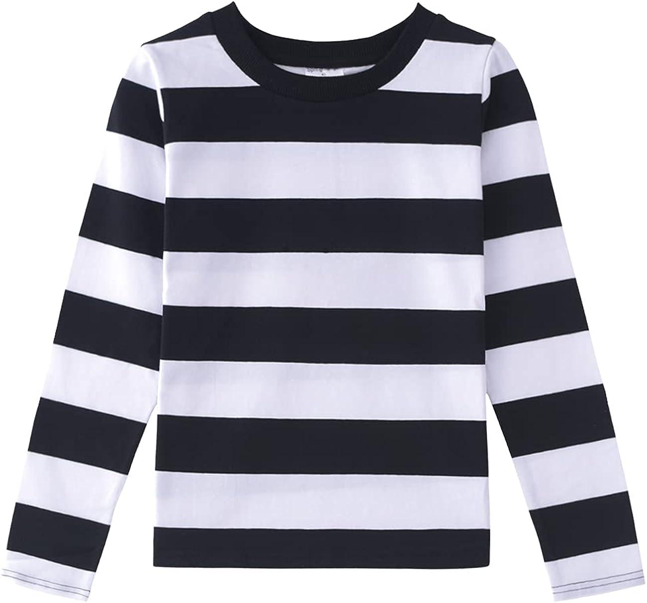 Spring&Gege Boys' Long Sleeve Striped Crew Neck T-Shirt