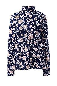 Lands' End Women Long Sleeve Relaxed Cotton Mock Deep Sea Multi Floral Petite Medium