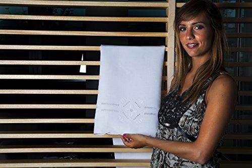 Zenoni&Colombi Coppia di Salviette Punto Antico Toscano in Misto Lino Ricamate a Mano Made in Italy 40x70cm