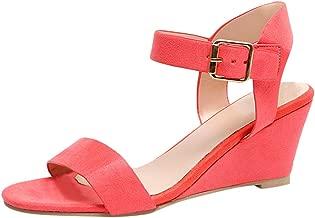 Women Solid Wedges Heel Sandals, NDGDA Buckle Strap Roman Shoes Sandals