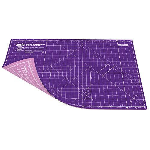 ANSIO Base de corte A3 doble cara auto curación 5 capas para Costura y Manualidades - Imperial/métrica 17 pulgadas x 11 pulgadas / 42 cm x 27 cm - Púrpura Real/Rosa Clavel