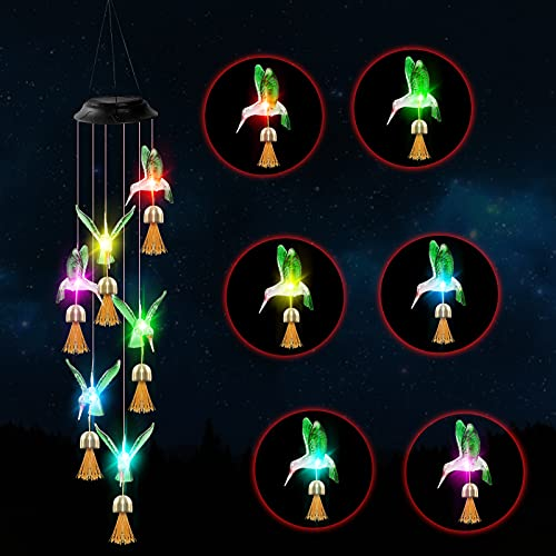 JURVEW Solar Wind Chime,Hummingbird Solar String Light,Color-Changing Outdoor LED Waterproof Hanging Lights for Home Patio Garden Wedding Party Yard Holiday Decoration