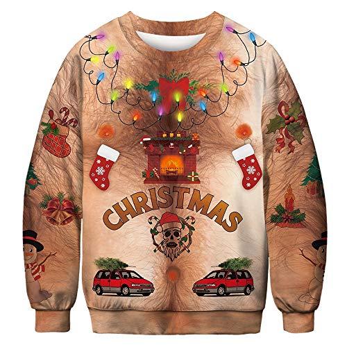 FRAUIT Heren 3D kerstprint lange mouwen los sweatshirt Unsiex Kerstmis pullover sweatshirts Kerstmis Jumper Ugly Christmas pullover
