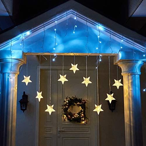 EAMBRITE Stars Window Curtain Lights 90 Warm White LED 9-Stars Curtain String Lights Twinkle String Lights for Home Wedding Patio Backdrop Christmas Decorations