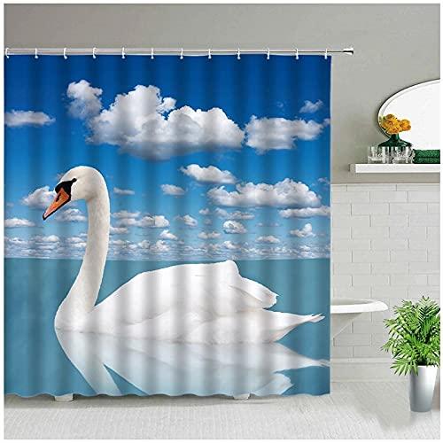 Duschvorhänge Tier Schwan Blauer Himmel Landschaft Flamingo Ozean Strand Blume Badezimmer Dekor Chic Vorhang Wasserdichtes Gewebe Mit Haken-180x180cm