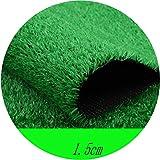 YNFNGXU Mucchio da 15 mm Tappeto Alto Verde Erba Tappeto in Erba Sintetica Super Denso Larghezza 2 Metri Decorazione da Parete da Giardino Prato Artificiale (Size : 2x4m)