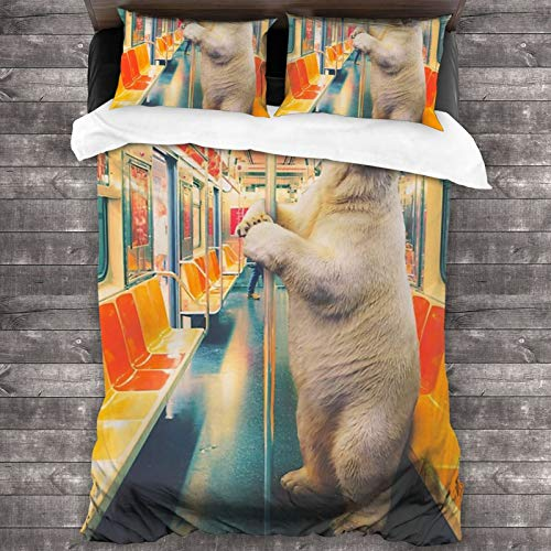 FDGJNB Bedding Duvet Cover 3 Piece Sets Polar Express Train Funny Polar Bear Coverlet Queen 1 Duvet Cover with Zipper Closure 2 Pillowcases Size Pillow Shams Lightweight Bedding Sets 86