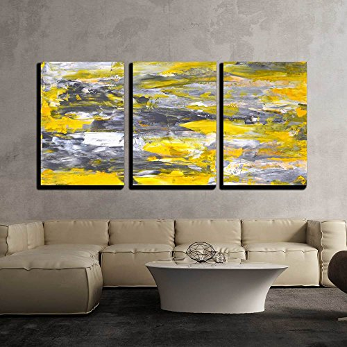 """wall26 - 3 Piece Canvas Wall Art - Grey and Yellow Abstract Art Painting - Modern Home Decor Stretched and Framed Ready to Hang - 16""""x24""""x3 Panels"""