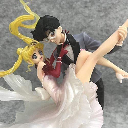 QI-shanping POP Sailor Moon Moon Hare Ground Guard Masquerade Ballkleid Handgemachtes Spielzeug der Statue Modell Desktop-Dekoration, PVC-Sammlung Fertigkeit-Dekoration-Geschenk Höhe über 24cm