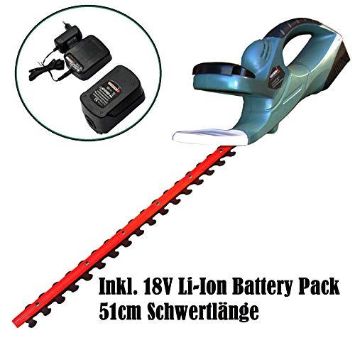 CROSSFER GmbH Akku-Heckenschere MOE-3ET inkl. 18V 1.3Ah Li-ion Akku, Ladegerät und Messerschutz, 51cm Schnittlänge, sehr leicht 3,5 Kg
