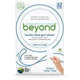 Beyond FREE & CLEAR Eco-friendly Laundry Detergent Sheets. Zero Plastic Waste (1 Pack of 32)