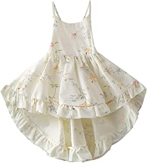 ALALEI Little Girl Dress,Sleeveless Cotton Casual Summer Floral Sundress Straps Beach Skirt