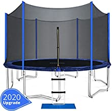 ORCC Trampoline 15 14 12 FT Outdoor Trampoline with Enclosure Net Ladder Pad Jumping Mat T-Hook Rain Cover, Safe Backyard Trampoline for Kids Adults, Including All Accessories (15ft)