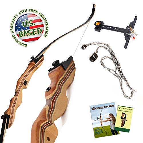KESHES Takedown Hunting Recurve Bow and Arrow - 62 Archery Bow for Teens and Adults, 15-55lb Draw Weight - Right and Left Handed, Archery Set, Bowstring Arrow Rest Stringer Tool Sight