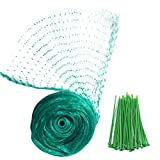 YHmal Bird Netting, 13 x 26 Ft Reusable Nylon Garden Netting with 0.4 Inch Square Mesh - Fruit Tree Netting Protect Plants and Fruit Trees - from Birds and Wildlife with 50 Pcs Plant Ties
