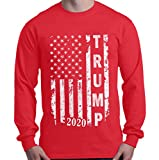 shop4ever Trump 2020 American Flag Long Sleeve Shirt Political Shirts Large Red 0