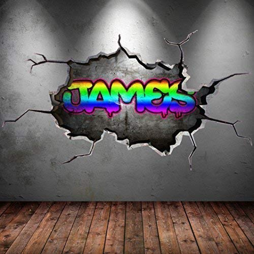 Wall Smart Designs Multi Farbige Personalisiert 3D Graffiti Name Cracked Wandkunst Aufkleber - Groß: 125cm (B) x 70cm (H)
