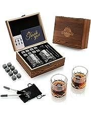 Zestaw upominkowy z kamieniami do whisky, 2 szklanki szkockie 8 granitowych skał chłodzących, drewniane pudełko prezentowe Burbon prezent dla miłośników whisky/mężczyzn/Boże Narodzenie, urodziny, Dzień Ojca