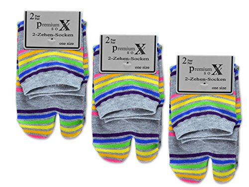 sockenkauf24 6 oder 12 Paar Zwei Zehensocken für Flip Flops Tabi Socken Damensocken (35-42/6 Paar, Grau geringelt)