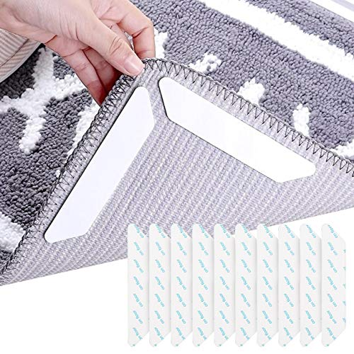 KwuLee Antirutschmatte für Teppich, 10 Stück rutschfeste wasserdichte Teppichaufkleber, umweltfreundliches PU-Material Wiederverwendbare waschbare Teppichunterlage für alle Böden, Schwarz