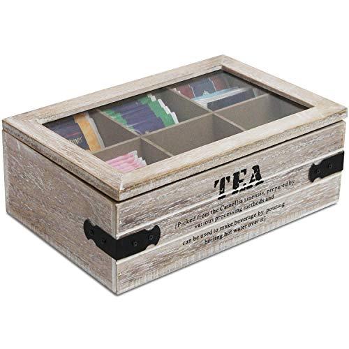 Aufbewahrungsbox Tea mit Sichtfenster und 6 Fächer, 24x16xH8cm, Natur/Schwarz, Aufbewahrungskiste Holzbox Teebox Teekiste