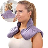 SHARPER IMAGE Warm & Cooling Herbal Aromatherapy Neck & Shoulder Plush Wrap Pad for Soothing Muscle Pain and Tension Relief Therapy, 100% Natural Lavender & Herb Spa Blend, Use in Microwave or Freezer