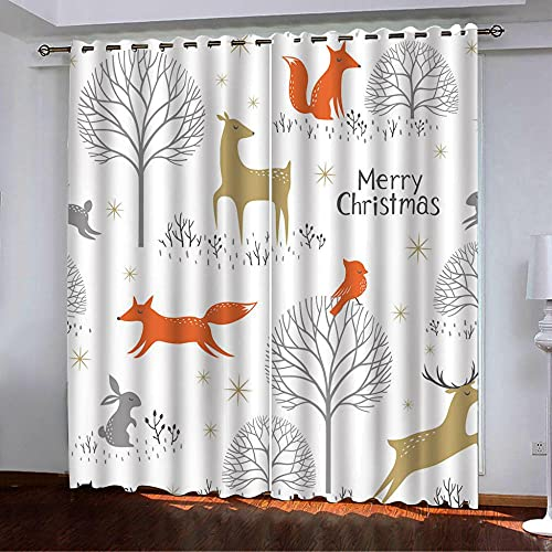 ZZYLCDT Cortinas Opacas Zorro Animal Blanco Gris Naranja Dorado Cortina Decorativa Opaca con Ojales, Estilo Simple y Elegante, para Salón, Habitación y Dormitorio 140x215cm x2