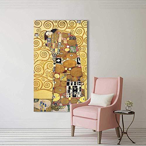 Flduod Wang Art gouden Kus Gustav Klimt schilderijen Reproductie op Canvas Gedrukt Olieverfschilderij mooie vrouw kunstwerk Muur Picture19.7x39.4inch