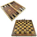 PrimoLiving XXL Backgammon y ajedrez de madera con figuras de ajedrez 50 x 47 cm