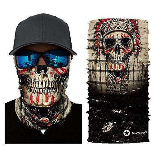 Skull Face Sun Mask Half,Bandanas,Neck Gaiter, Headwear, Headband for Fishing, Hunting,Yard Work (Brown)