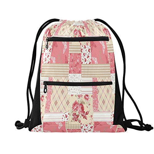HMZXZ RXYY Pink Geometric Flower Plaid Drawstring Gym Bagwith zip pocket Sackpack Drawstring Cinch Backpack Sport Rucksack Daypack Travel Yoga for Men Women Boys Girls