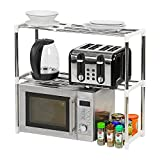 Taylor & Brown 2 Tier Microwave Oven Storage Rack Extendable Shelf Shelving Utensil Stainless Steel Shelves Kitchen Stand Organiser Countertop Space Saver