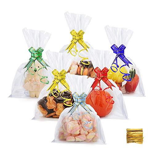 DazSpirit 100 Stück Plastiktütchen Cellophantüten Kleine Tüten Transparent - 18x25 cm Durchsichtige Plastiktüte für Süßes, Geschenk, Cupcake und Spielzeug