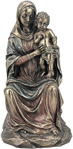 Bronzefigur Mutter Maria mit Jesus, kaltgegossen, 21 cm