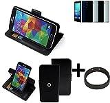 K-S-Trade® Case Schutz Hülle Für -Haier Voyage V5- + Bumper Handyhülle Flipcase Smartphone Cover Handy Schutz Tasche Walletcase Schwarz (1x)