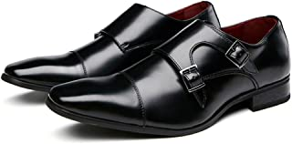 Men's Monk Shoes,Casual Walking Office Business Leather Shoes Work Party Banquet Dress Shoes Footwear,Black- 40/UK 7/US 7.5