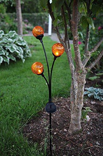 Kamaca XL LED SOLAR Gartenstab Wegeleuchte Gartenleuchte Pathlight 3 Amber LED mit SOLARPANEL und Erdspieß (3 beleuchtete Acryl-Kugeln in Amber)