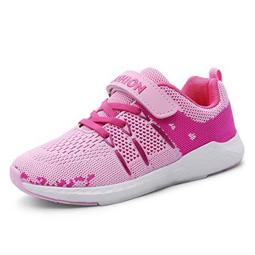 ZOSYNS Mädchen Schuhe Sportschuhe Mesh Atmungsaktiv Laufschuhe Outdoor Sport Sneaker Turnschuhe Klettverschluss Wanderschuhe Hallenschuhe für Kinder Rosa 28
