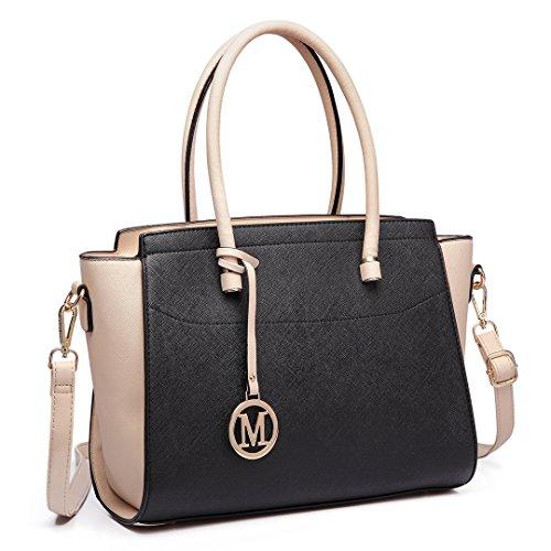 Miss Lulu Geldbörsen und Handtaschen für Damen, klassisch, mit Flügeln, PU-Leder, Mehrere (schwarz / beige), Large