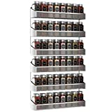 Auledio 2 Pack Spice Rack Organizer, 3 Tier Counter-top Stand or Wall Mounted Storage Rack Hanging Shelf for Kitchen Cabinet, Cupboard, Pantry Door or Bathroom Shower Cosmetic - Chrome
