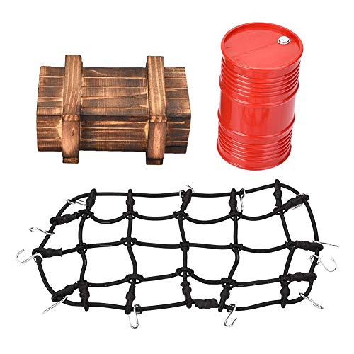 Yanmis RC Decorative Tools, uggage Net Wooden Box Decorative Oil Drum Set for 1/10 Scale RC Crawler Car, Best Gift for Children Kids, RC Luggage Wooden Box