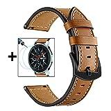 TRUMiRR pour Galaxy Watch 46mm Band + 2 Pack Protecteur d'écran, 22mm Bracelet en Cuir véritable Bracelet en Cuir véritable relâchement Rapide pour Samsung Galaxy Watch 46mm, Gear S3 Classic/Frontier