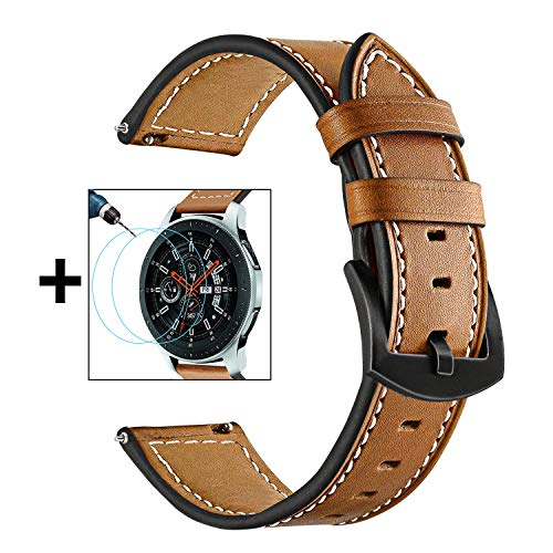 Band + Paquete de 2 Protector de Pantalla, 22mm TRUMiRR para Galaxy Watch 46mm Correa de Reloj de Cuero Genuino Suave Correa para Samsung Galaxy Watch 46mm, Gear S3 Classic/Frontier