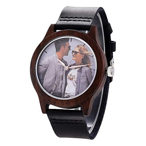 Personalisierte hölzerne Uhren Foto und Textgravur Armbanduhr Quarz Herren Uhr mit Lederband für Jubiläumsgeschenk, inkl Geschenkbox (Black-Style 1)