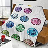 L-shop Diamond Decor Set of Round Oval Gems Diamonds Emerald Supreme Sublime Worth World Design Girls Decor Multi Personalized Fashion Lamb Blanket