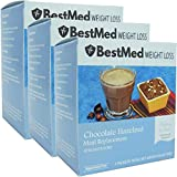 Protein Shake Meal Replacement Powder | Low Carb, Low Calorie, Low Sugar | (21ct) - 3 Box Value Pack | BestMed Weight Loss (Hazelnut)